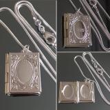 Кулон Книга серебряный для фотографии  #03000