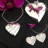 Кулон Сердце серебряный для фотографии  #03015