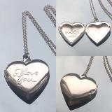 Кулон I Love you серебряный для фотографии  #03017