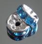 Рондели 8мм бирюзовые кристаллы #02376