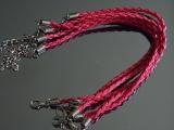 Браслет Кожаный плетеный Фуксия  #02408