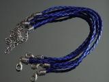 Браслет Кожаный плетеный Синий #02404
