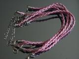 Браслет Кожаный плетеный Розовый #02409