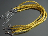 Браслет Кожаный плетеный Желтый #02405