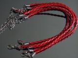 Браслет Кожаный плетеный Красный #02410