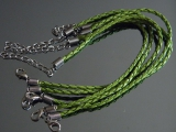 Браслет Кожаный плетеный Зеленый #02406