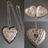 Кулон серебряный Сердце Большоедля фотографии  #03002