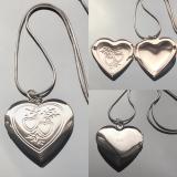 Кулон Два Сердца серебряный для фотографии  #03016